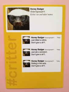 Honey Badger DOES give a sh*t that the By All Writes blog is now a toddler...